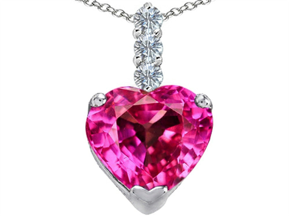 Star K 12mm Heart-Shape Created Pink Sapphire Pendant Necklace Sterling Silver