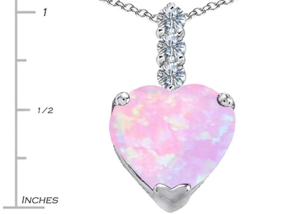 Star K 12mm Heart-Shape Pink Created Opal and Cubic Zirconia Pendant Necklace Sterling Silver