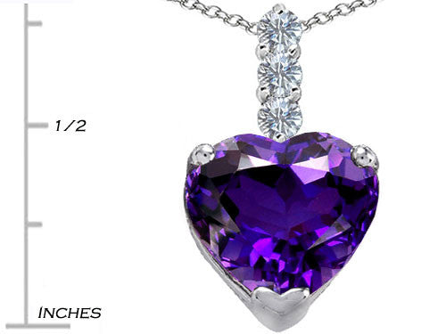 Star K 12mm Heart-Shape Simulated Amethyst Pendant Necklace Sterling Silver