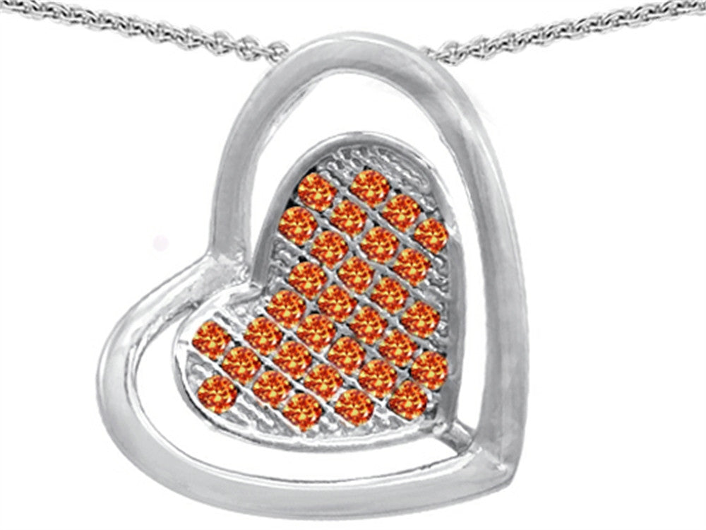 Star K Round Simulated Mexican Orange Fire Opal Heart-Shape Pendant Necklace Sterling Silver