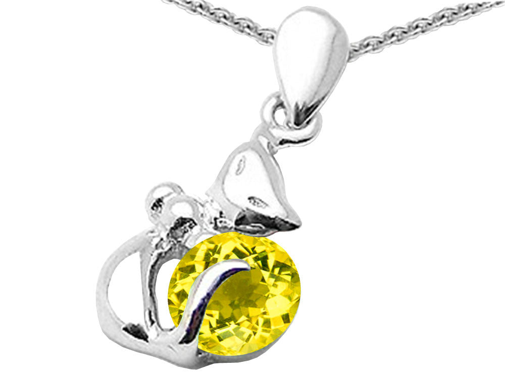 Star K Round 6mm Simulated Citrine Cat Pendant Necklace Sterling Silver