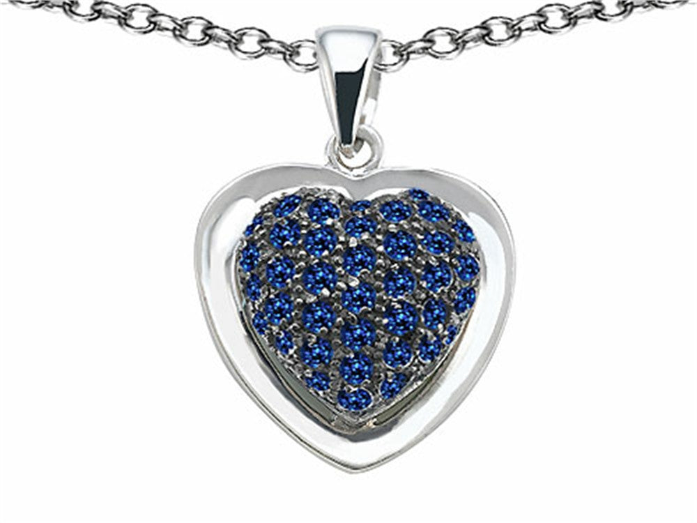 Star K Heart-Shape Love Pendant Necklace with Created Sapphire Sterling Silver