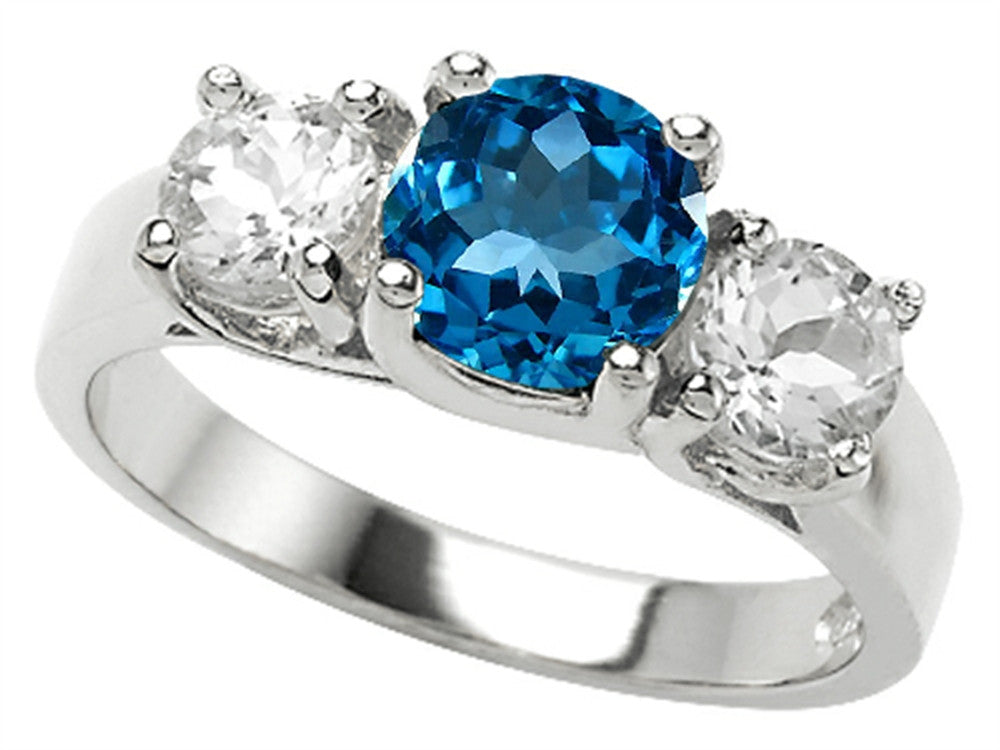 Star K Genuine Round Blue-Topaz Ring Sterling Silver Size 8