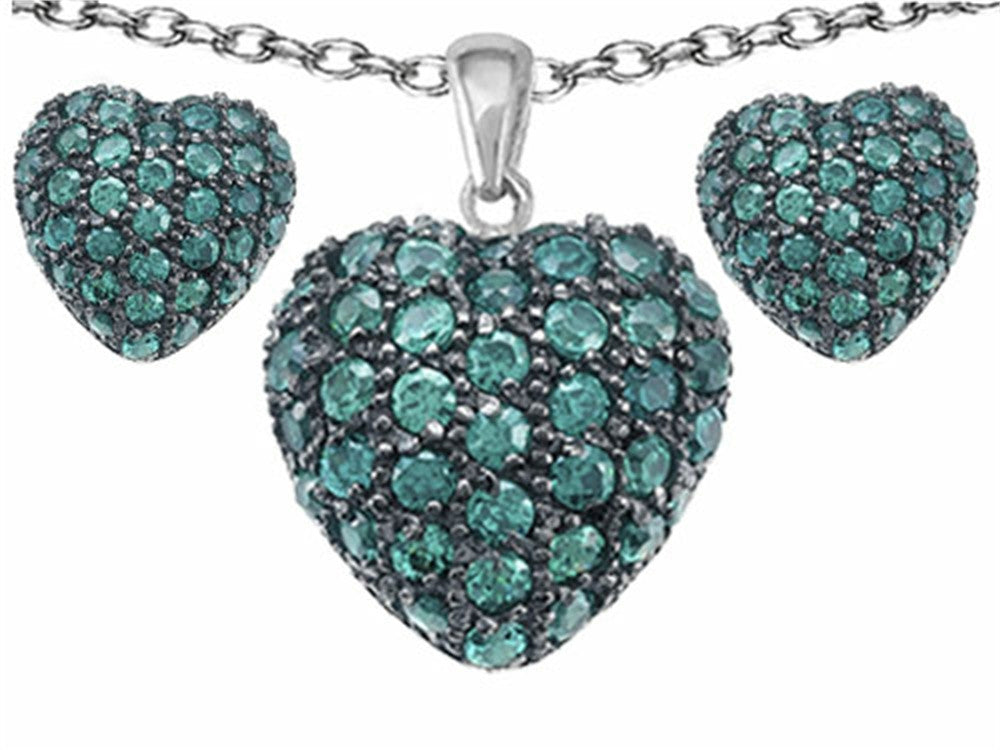 Star K Simulated Emerald Puffed Heart Love Pendant with matching earrings Sterling Silver