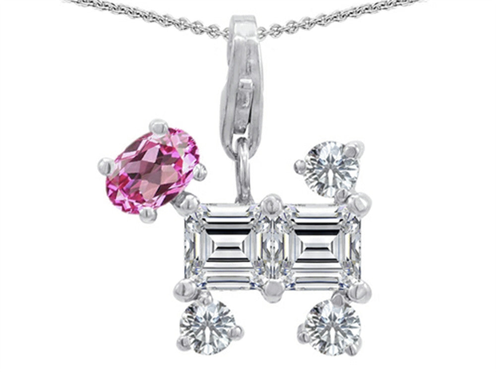 Star K Dog Pendant Necklace with Created Pink Sapphire Sterling Silver