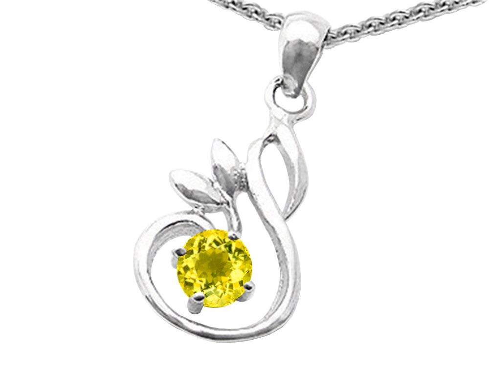 Star K Round Simulated Citrine Swan Pendant Necklace Sterling Silver