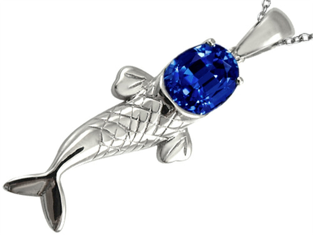 Star K Fish Pendant Necklace with Oval Created Sapphire Sterling Silver