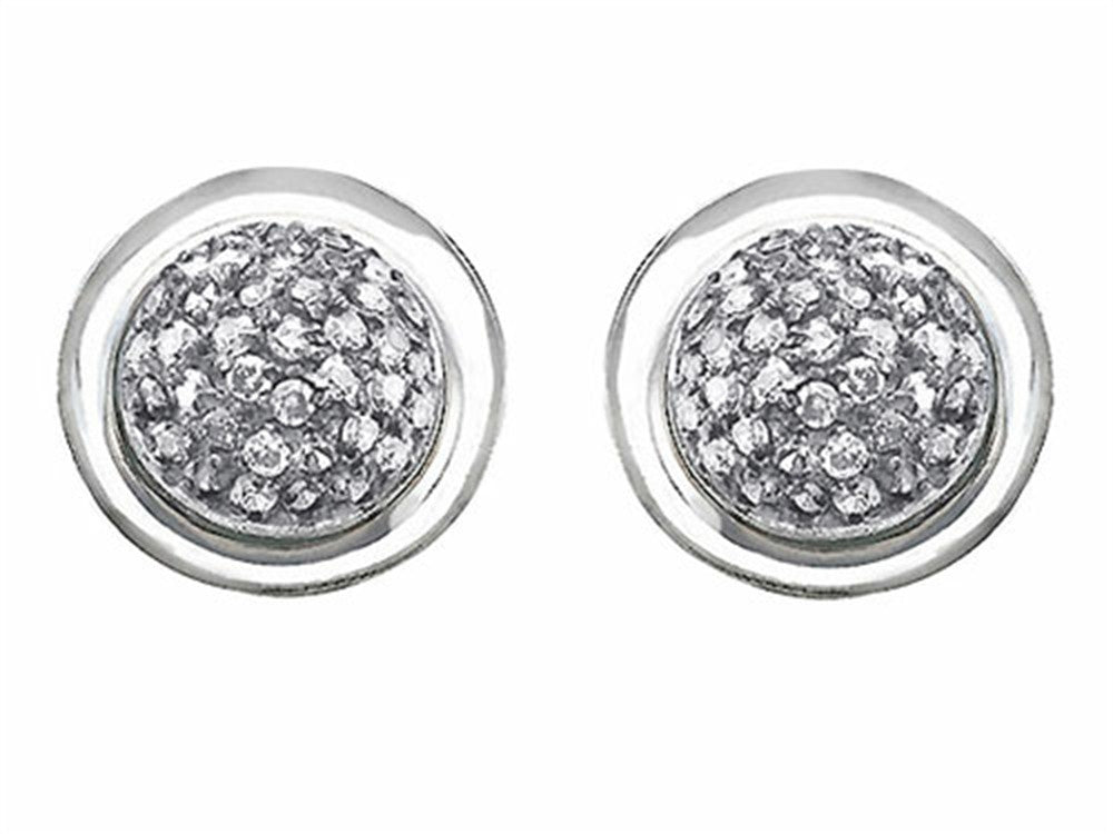 Star K Round Puffed Earrings with Cubic Zirconia Sterling Silver