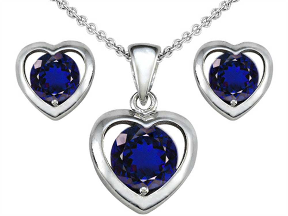 Star K Created Sapphire Heart Earrings with matching Pendant Sterling Silver