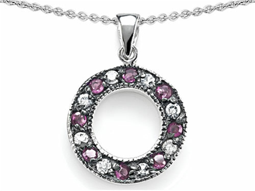 Star K Love Circle Pendant Necklace with Created Pink Sapphire Sterling Silver