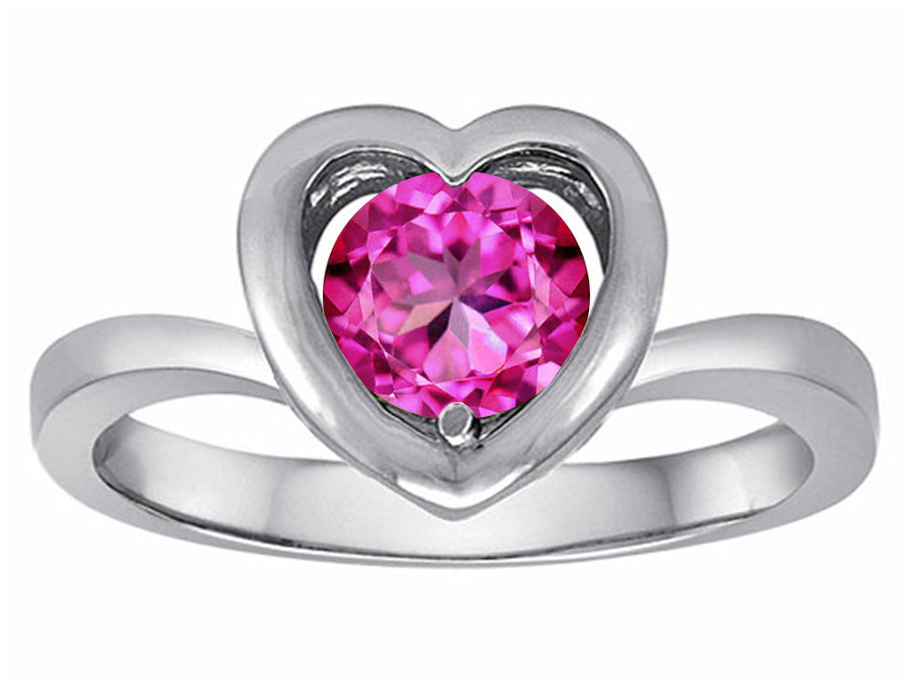 Star K Heart Promise of Love Ring with 7mm Round Created Pink Sapphire Sterling Silver Size 8