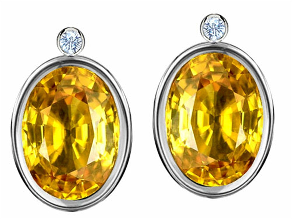 Star K Oval Genuine Citrine Earrings Studs with High Post On Back Sterling Silver