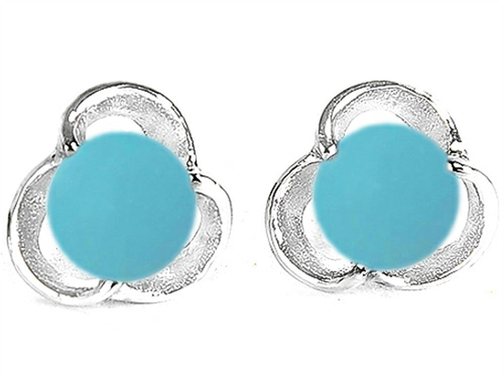 Star K Round Simulated Turquoise Flower Earrings Studs Sterling Silver