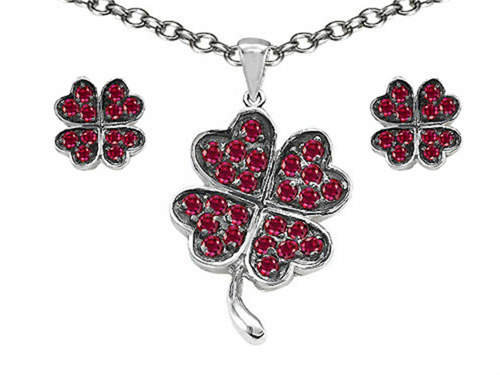 Celtic Created Ruby Lucky Clover Pendant with matching earrings Sterling Silver
