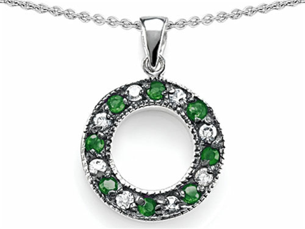 Star K Love Circle Pendant Necklace with Simulated Emerald Sterling Silver