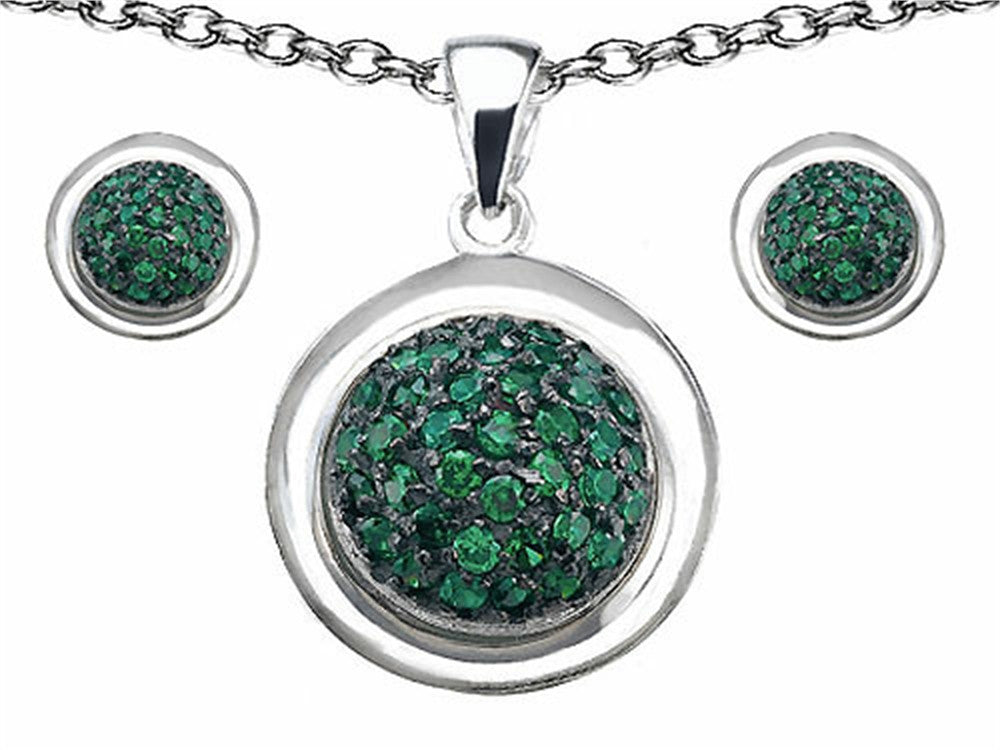 Star K Simulated Emerald Round Puffed Pendant with matching earrings Sterling Silver