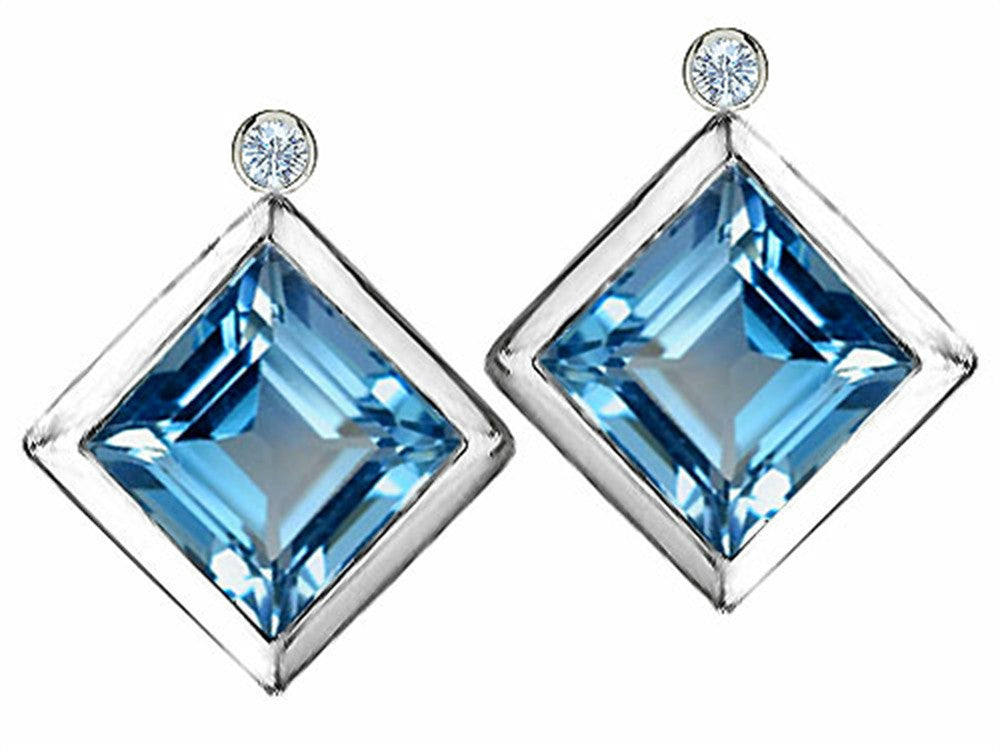 Star K Grade Genuine Square Blue-Topaz Earrings Studs with High Post On Back Sterling Silver