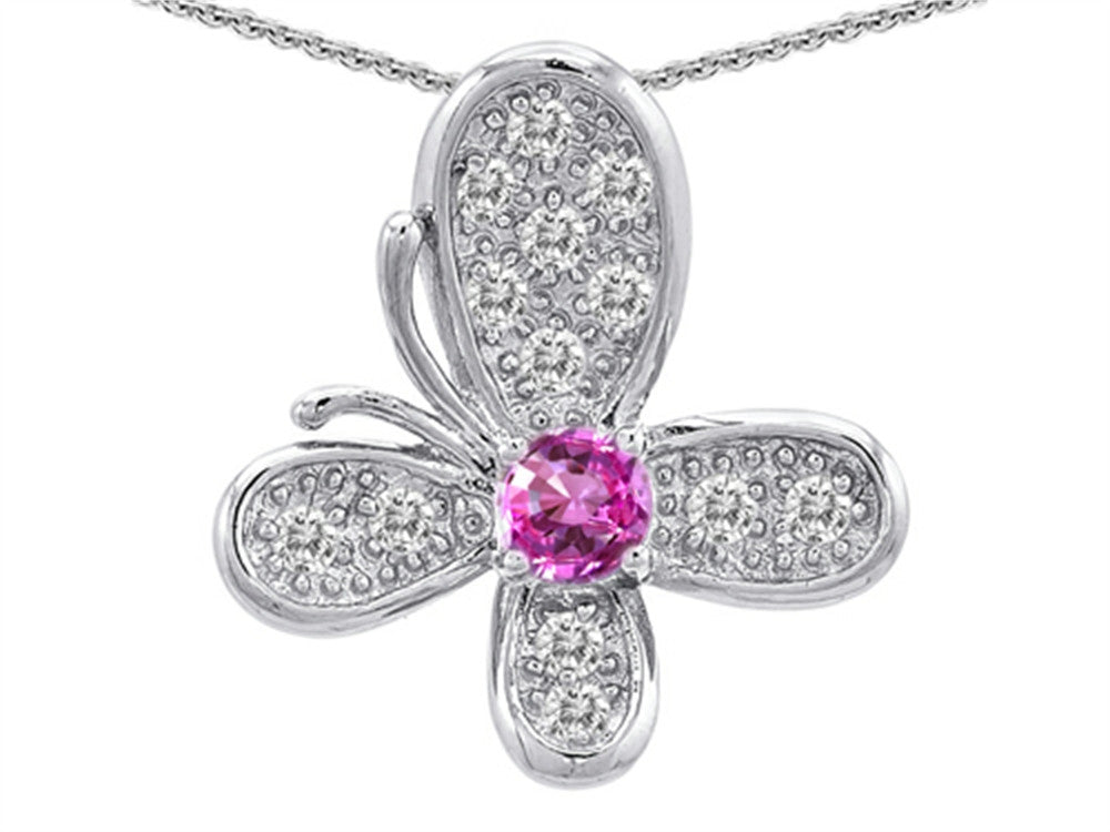 Star K Butterfly Pendant Necklace with Round Created Pink Sapphire Sterling Silver