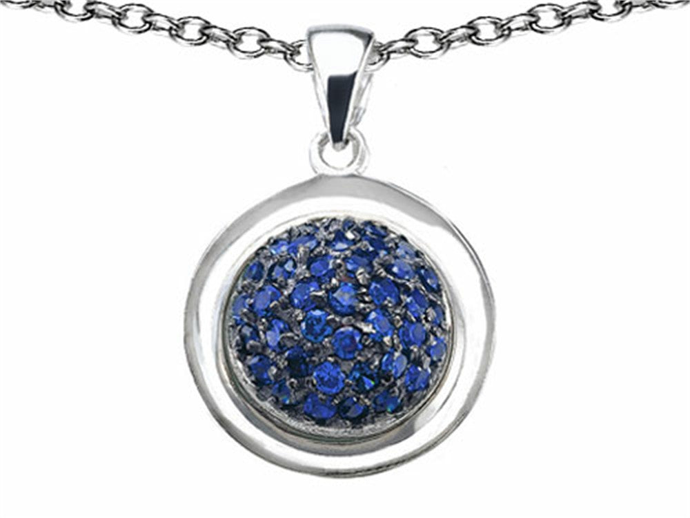 Star K Round Puffed Pendant Necklace with Created Sapphire Sterling Silver