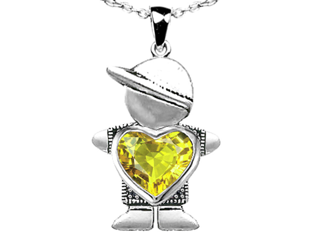 Star K Boy Holding 8mm Mother Heart November Birth Month Pendant Necklace with Simulated Citrine Sterling Silver