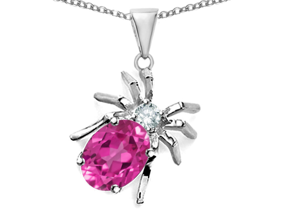 Star K Spider Pendant Necklace with Oval Created Pink Sapphire Sterling Silver