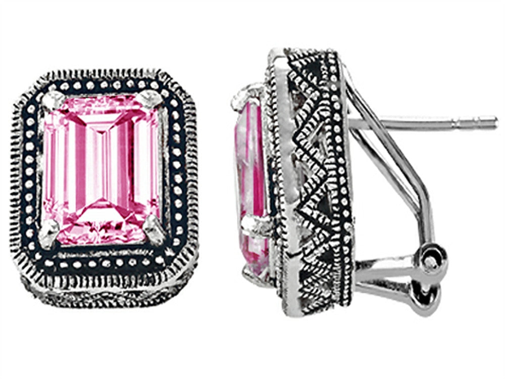 Star K Bali Style Emerald Cut Created Pink Sapphire Earrings Sterling Silver