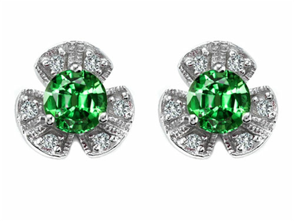 Star K Flower Earrings with Round 5mm Simulated Emerald Sterling Silver