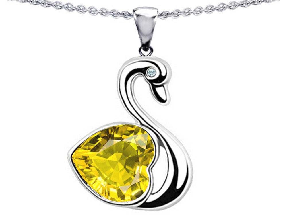 Star K Love Swan Pendant Necklace with Heart-Shape 8mm Simulated Citrine Sterling Silver