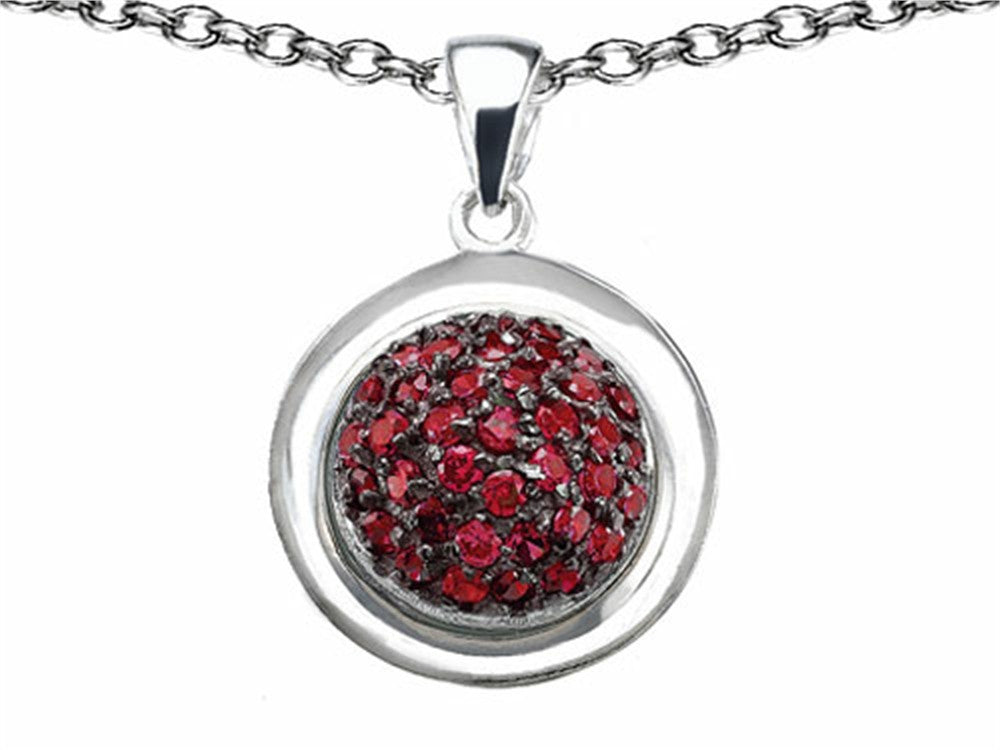Star K Round Puffed Pendant Necklace with Created Ruby Sterling Silver