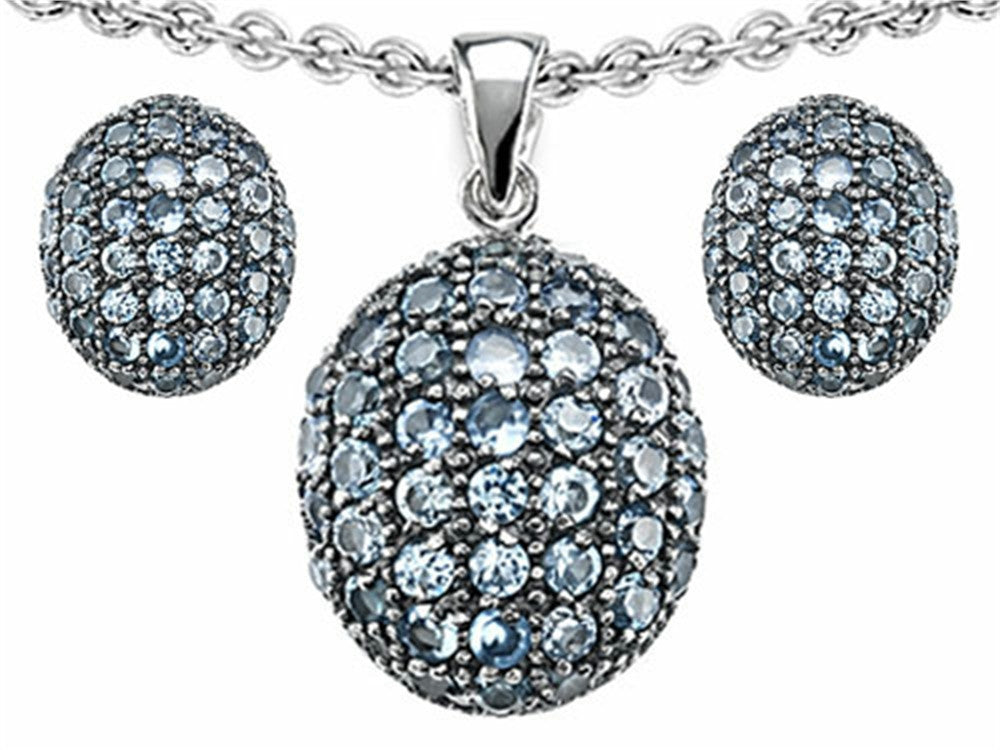 Star K Simulated Aquamarine Oval Puffed Pendant with matching earrings Sterling Silver