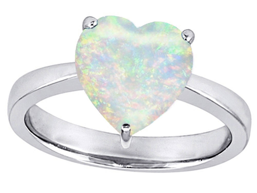 Star K 10mm Heart-Shape Solitaire Simulated Opal Ring Sterling Silver Size 8