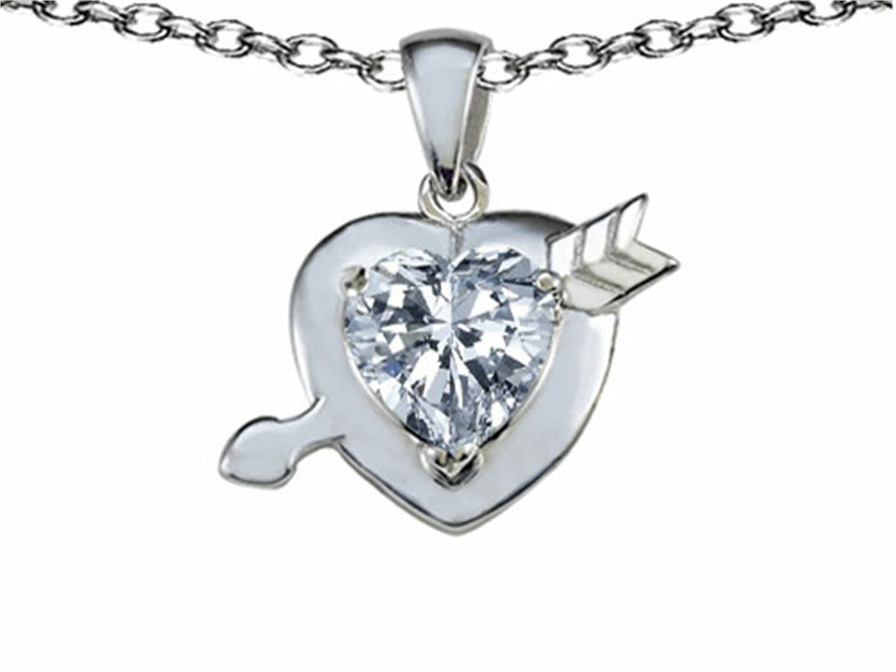 Star K Heart with Arrow Love Pendant Necklace with Genuine White Topaz Sterling Silver