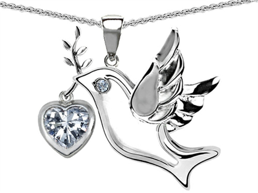 Star K Peace Love Dove Pendant Necklace with 7mm Heart-Shape Genuine White Topaz Sterling Silver