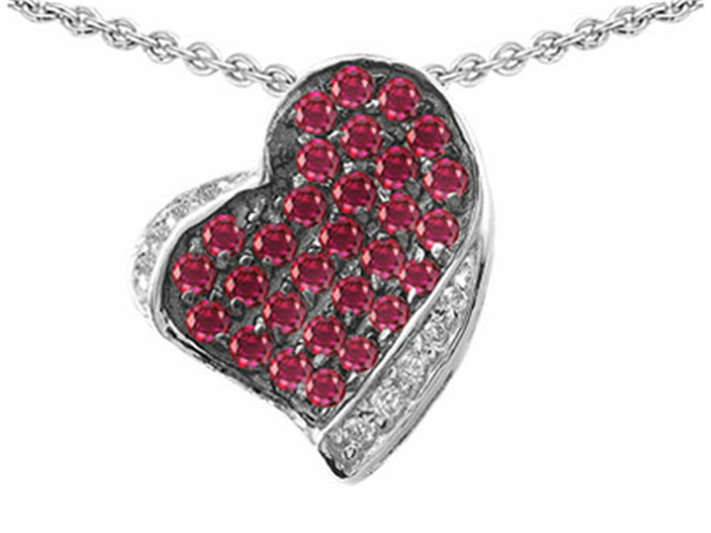 Star K Heart-Shape Love Pendant Necklace with Created Ruby Sterling Silver