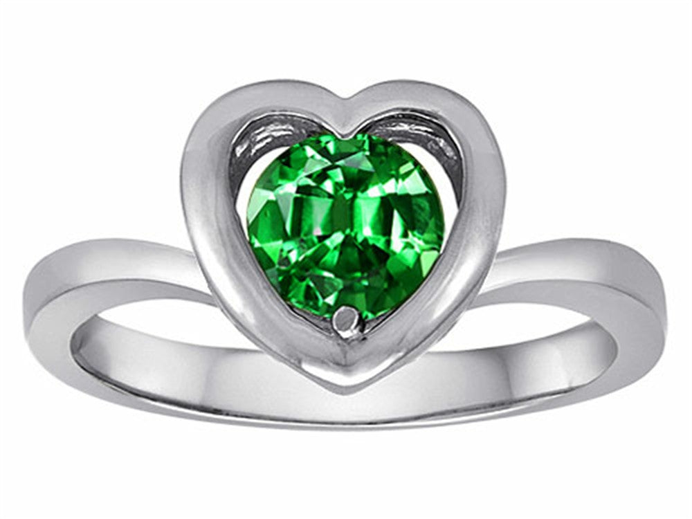 Star K Heart Promise of Love Ring with 7mm Round Simulated Emerald Sterling Silver Size 8