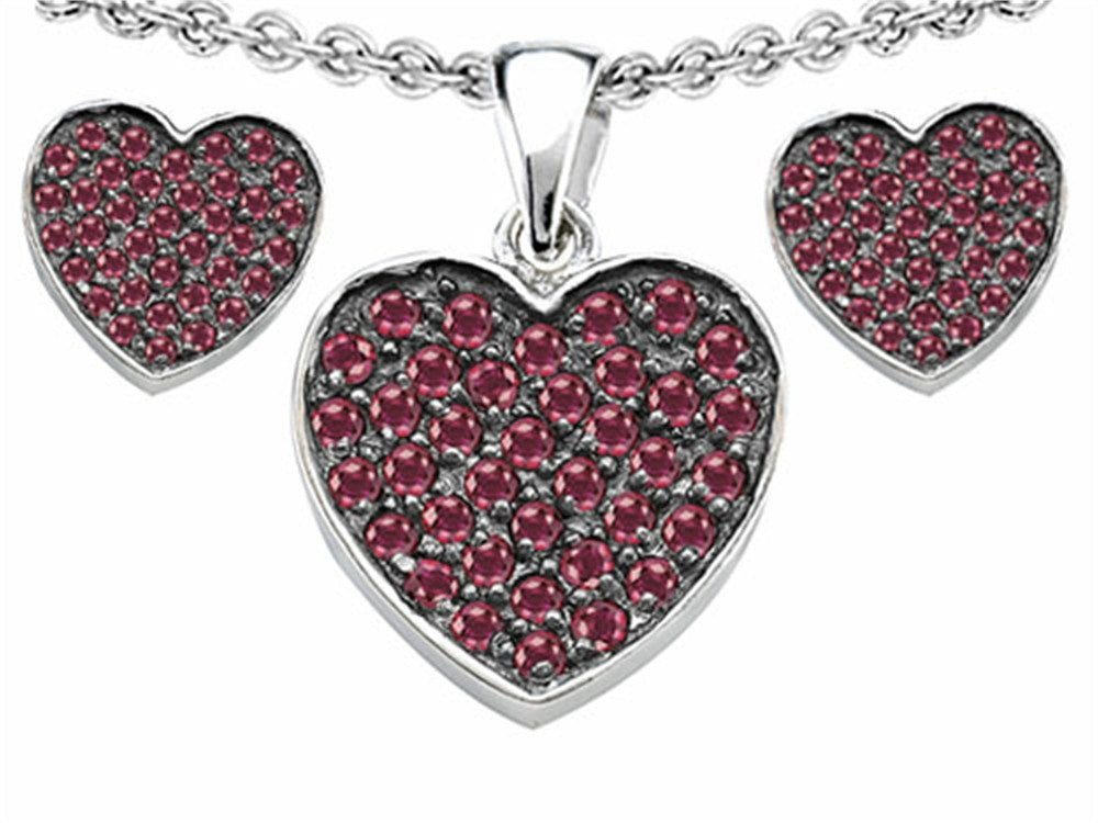 Star K Created Ruby Heart-Shape Love Pendant with matching earrings Sterling Silver