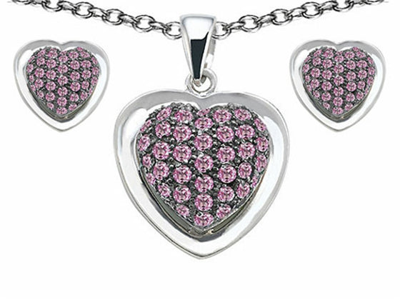 Star K Created Pink Sapphire Heart-Shape Love Pendant with matching earrings Sterling Silver