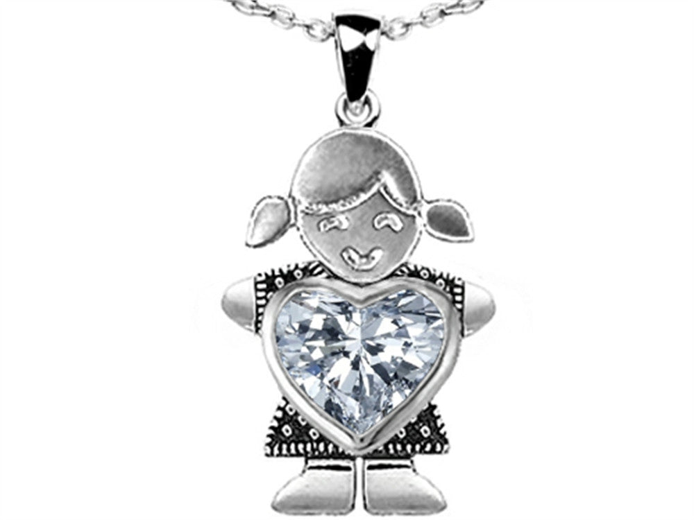 Star K Girl Holding 8mm Mother Heart Birthstone Pendant Necklace with Genuine White Topaz Sterling Silver