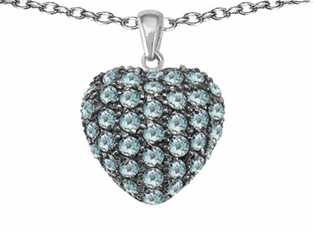 Star K Puffed Heart Love Pendant Necklace with Simulated Aquamarine Sterling Silver