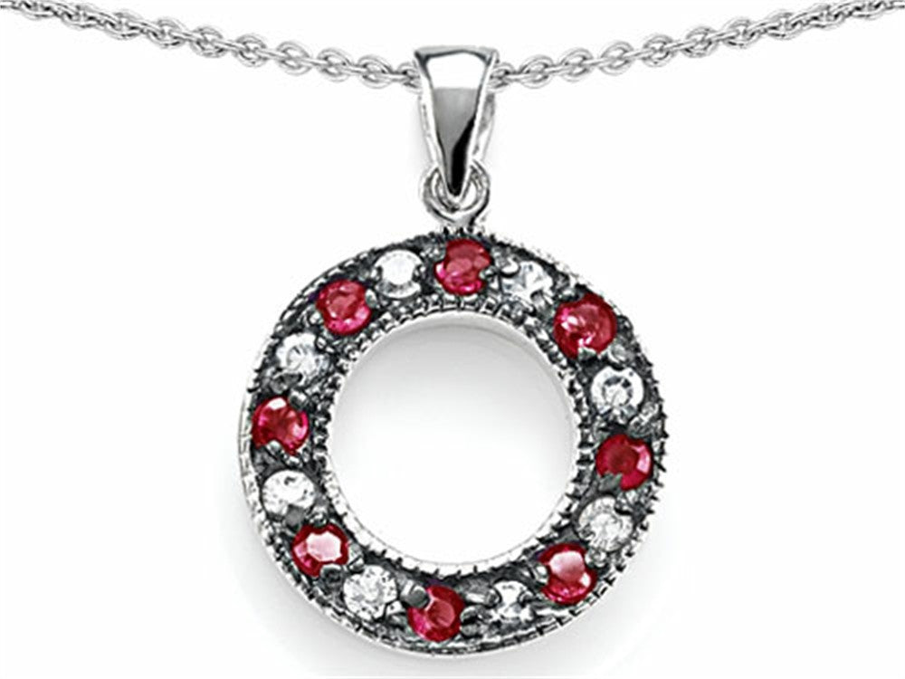 Star K Love Circle Pendant Necklace with Created Ruby Sterling Silver