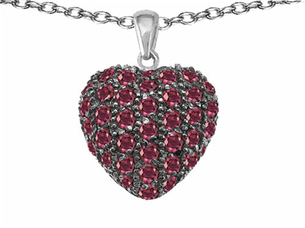 Star K Puffed Heart Love Pendant Necklace with Created Ruby Sterling Silver