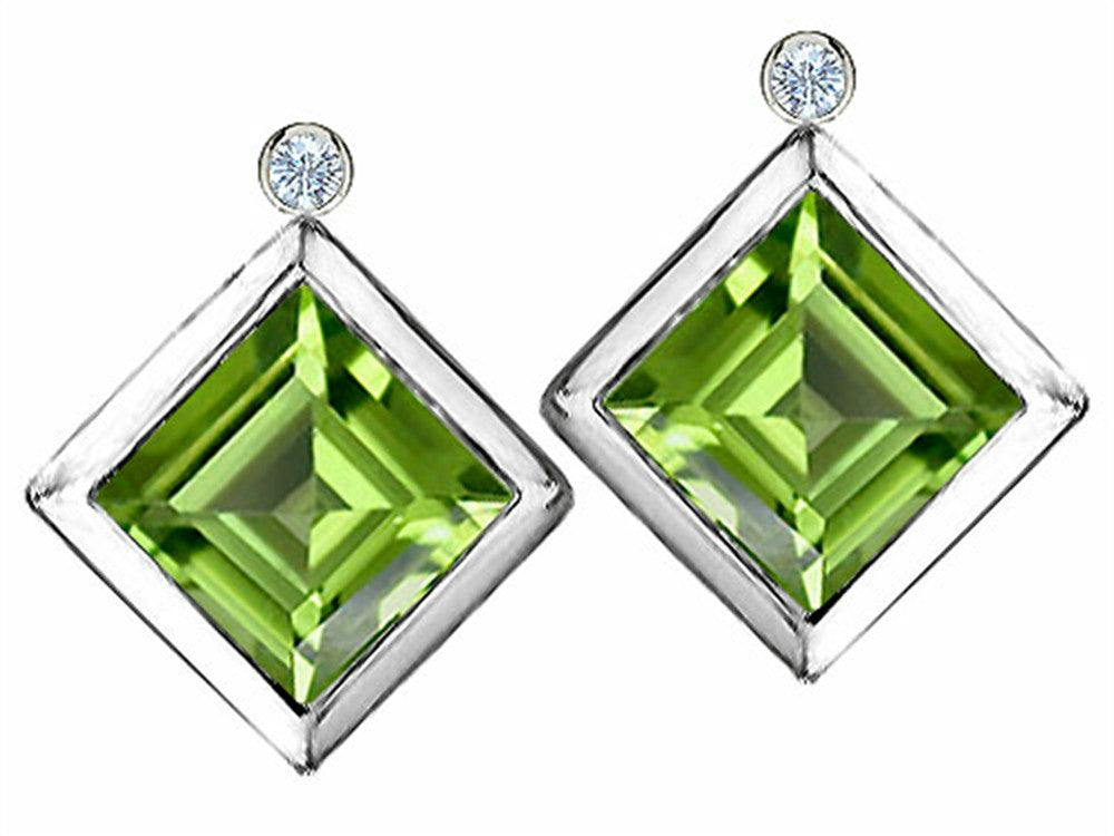 Star K Square Genuine Peridot Earrings Studs with High Post On Back Sterling Silver