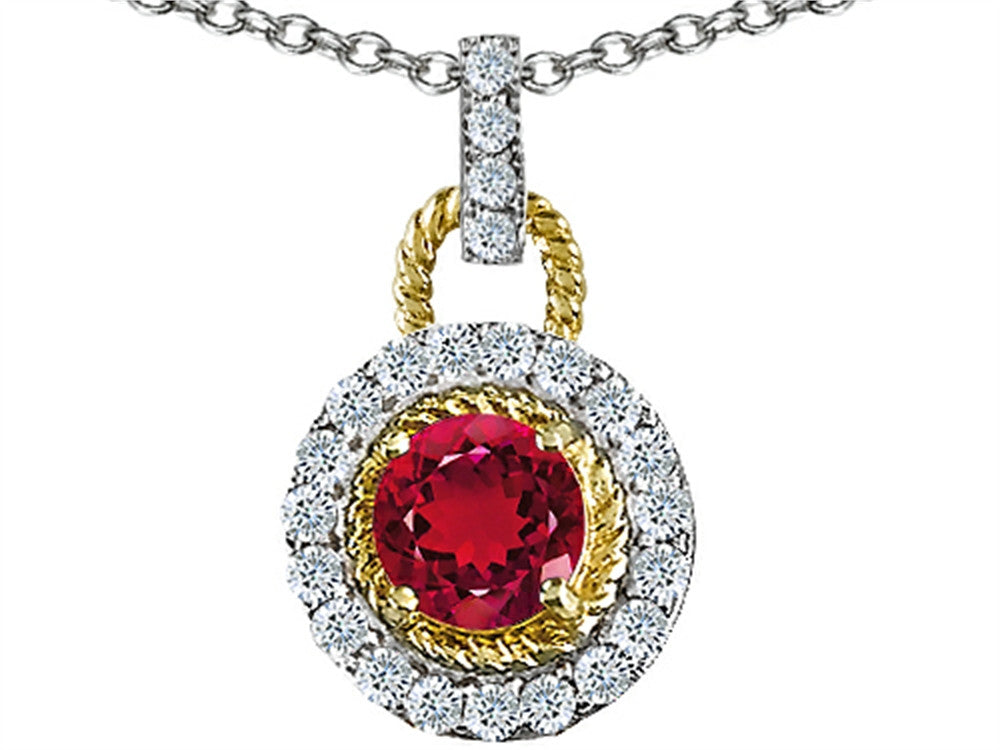 Star K Round 6mm Created Ruby Pendant Necklace Sterling Silver