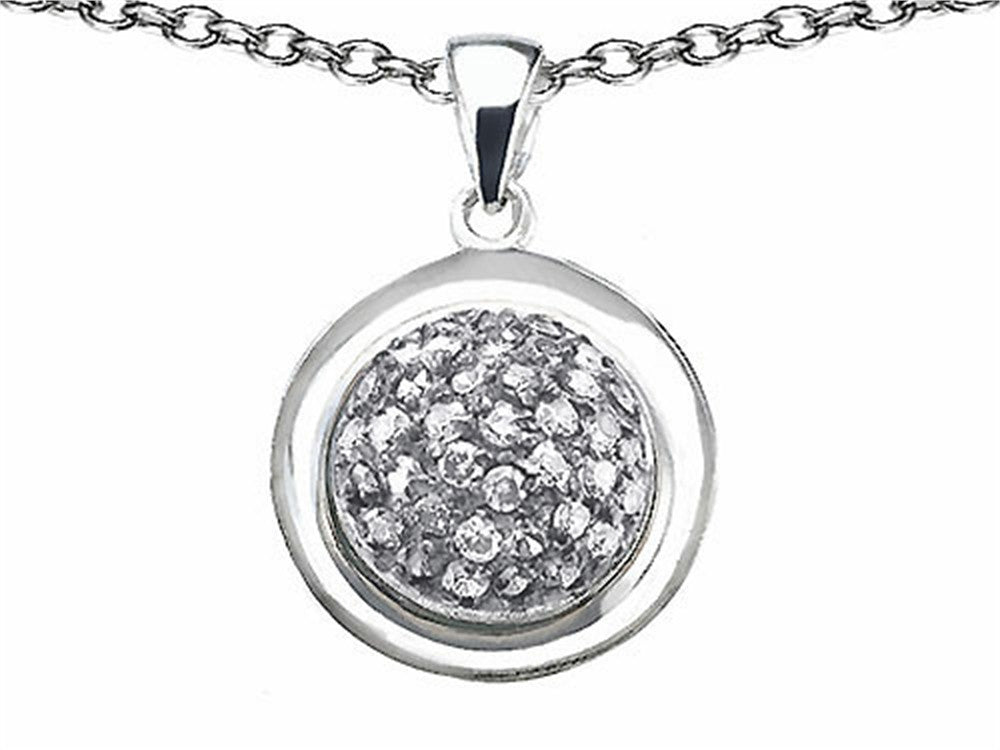 Star K Round Puffed Pendant Necklace with Cubic Zirconia Sterling Silver