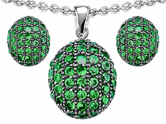 Star K Simulated Emerald Oval Puffed Pendant with matching earrings Sterling Silver