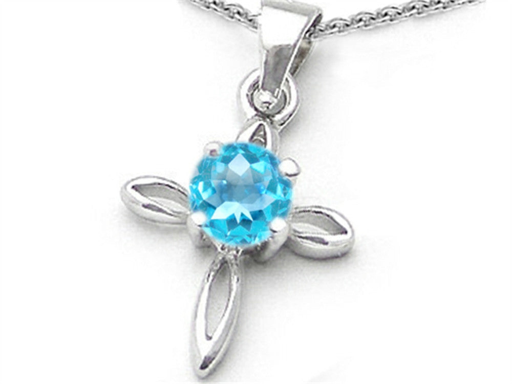 Star K Round Simulated Aquamarine Cross Pendant Necklace Sterling Silver
