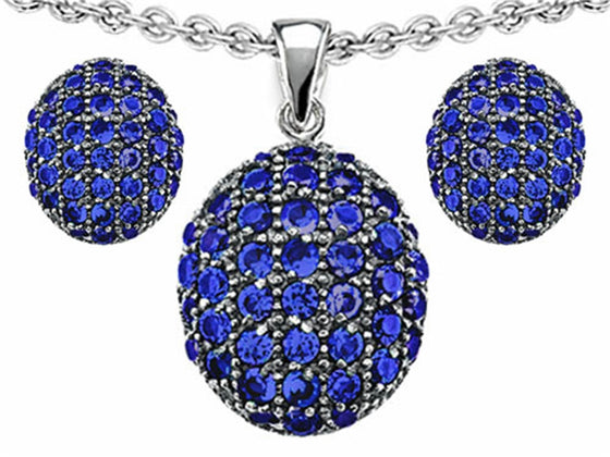 Star K Created Sapphire Oval Puffed Pendant with matching earrings Sterling Silver