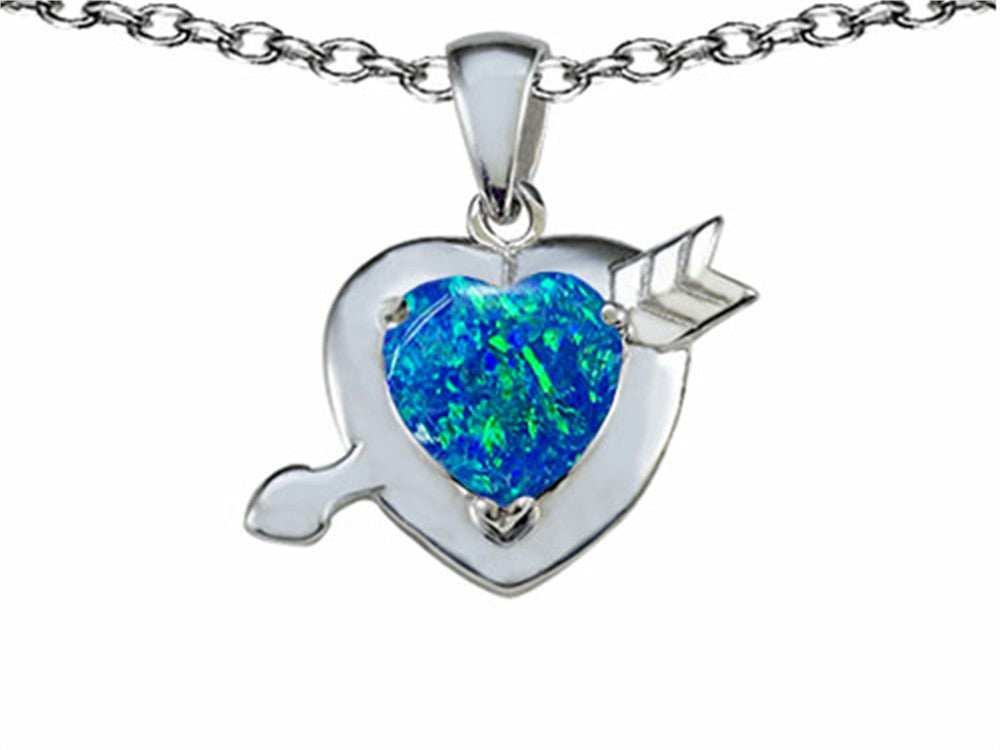 Star K Heart with Arrow Love Pendant Necklace with Heart-Shape 8mm Blue Created Opal Sterling Silver