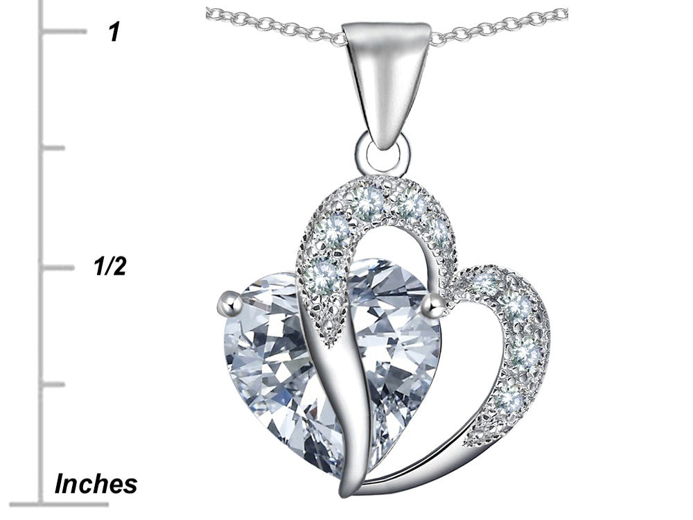 Star K Heart-Shape 12mm Cubic Zirconia Pendant Necklace Sterling Silver