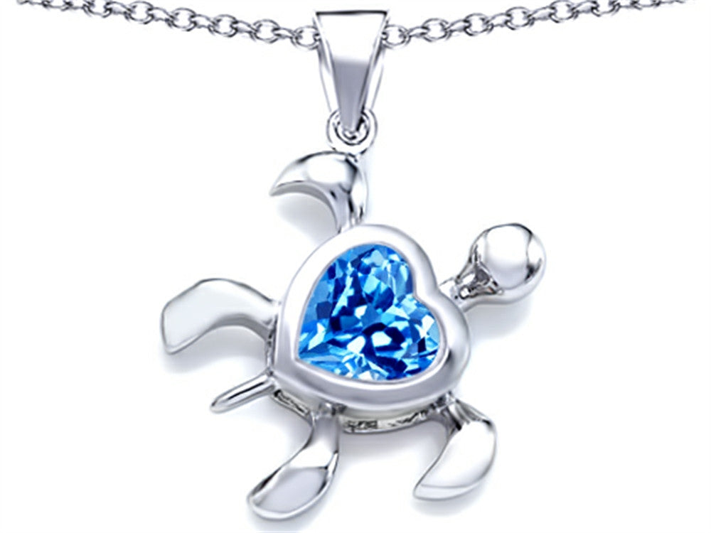 Star K 10mm Heart-Shape Simulated Blue-Topaz Sea Turtle Pendant Necklace Sterling Silver